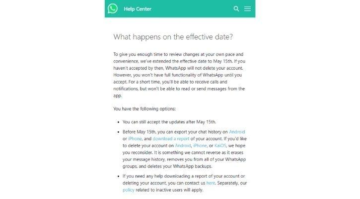 whatsapp rpivacy policy