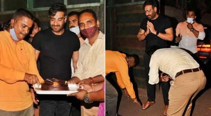 Birthday celebrations outside Ajay Devgn