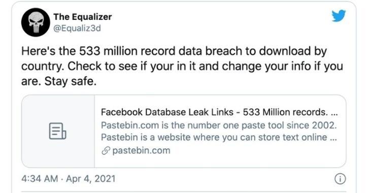 Facebook user data 533 million