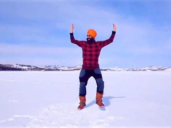In the middle of a frozen lake in Canada