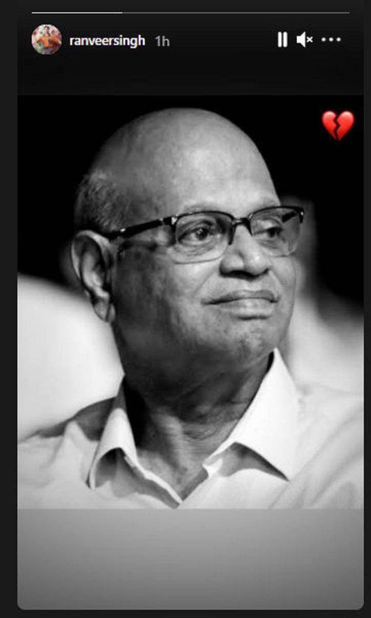 Ranveer Singh mourns the death of Kishore Nandlaskar.
