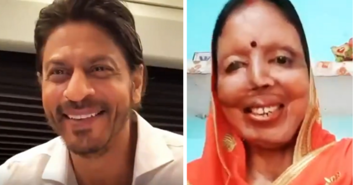 Shah Rukh Khan interacts with acid attack survivors.