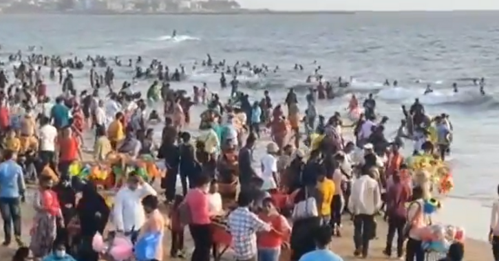 Amid Rising Number Of COVID-19 Cases In Mumbai, Visuals Of Crowded Juhu Beach Shock Celebs