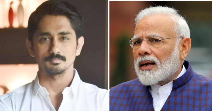 Actor Siddharth and Prime Minister Narendra Modi / Indiatimes