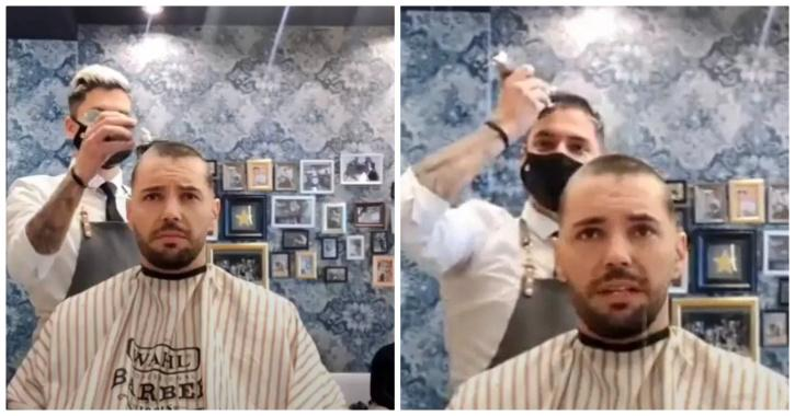 Barber shows solidarity with cancer patient