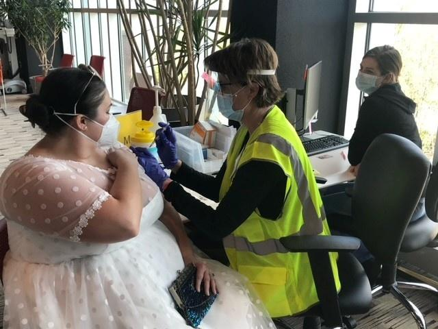 Sarah Studley's wedding reception was cancelled due to the pandemic in November last year and the dress she had bought had gone to waste.