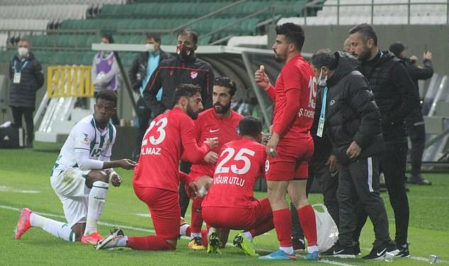 A game of football in Turkey's second division was halted in the 11th minute to allow some Muslim players break their fast after hearing the evening call to prayer at sunset.