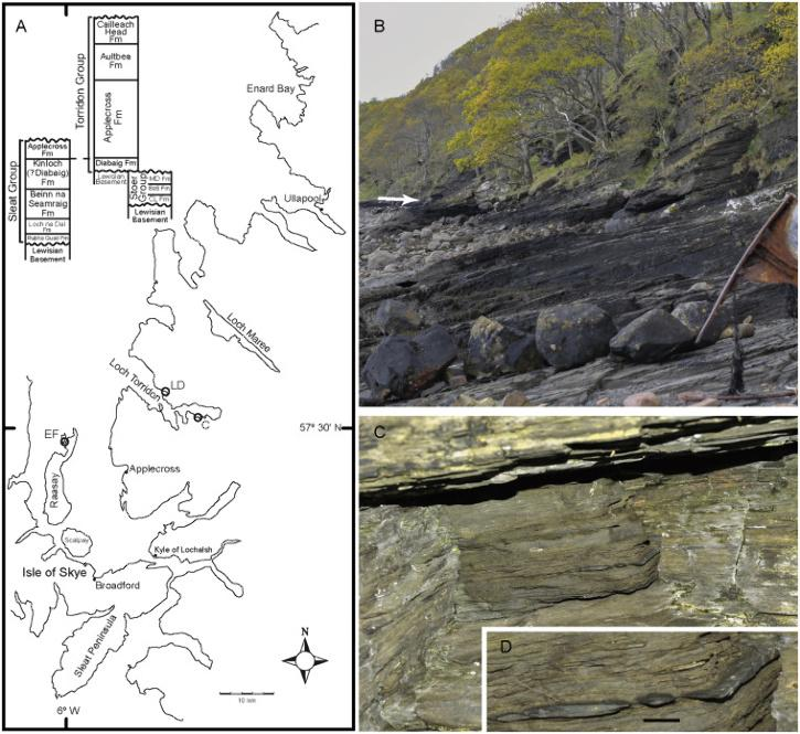 Location map and geological section at Lower Diabaig where fossil was found