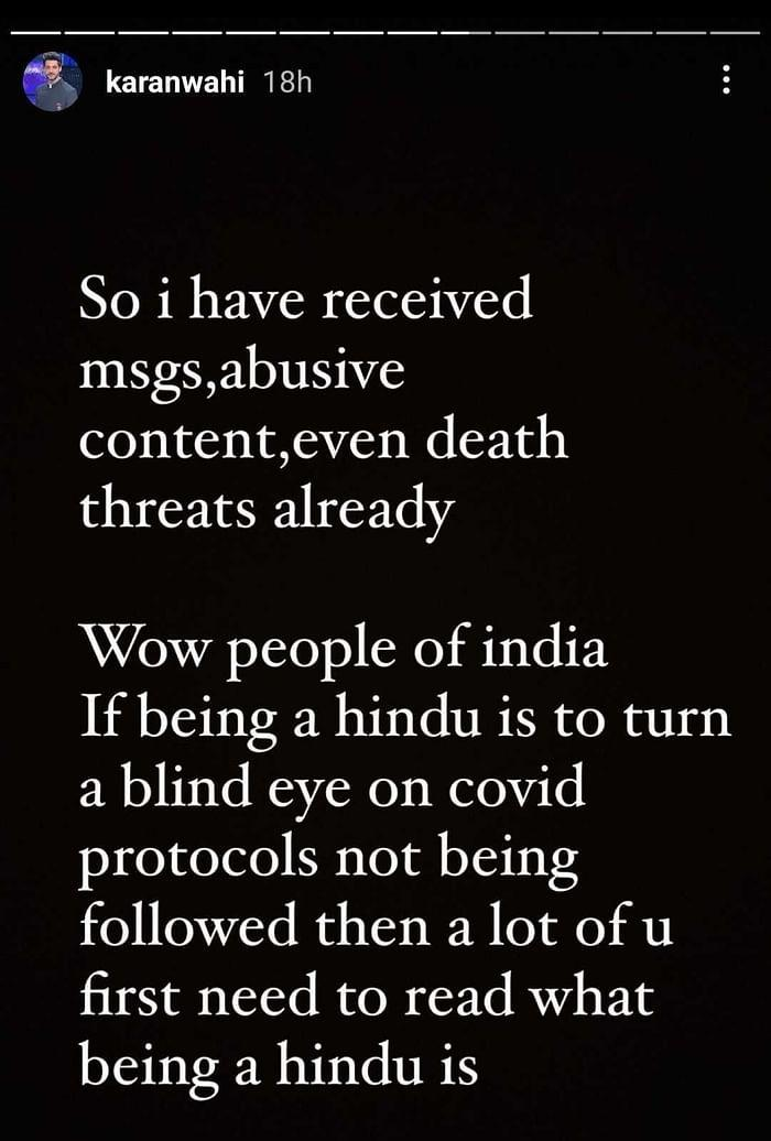 Karan Wahi gets hate messages for covid-19 protocoals being ignored by Naga Sadhus at Kumbh Mela.