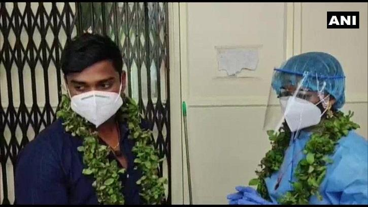 The couple will be reunited once the groom and his mother tested negative for the virus.