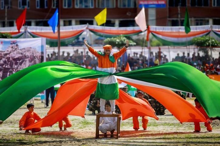 Schoolchildren perform during Independence Day celebrations