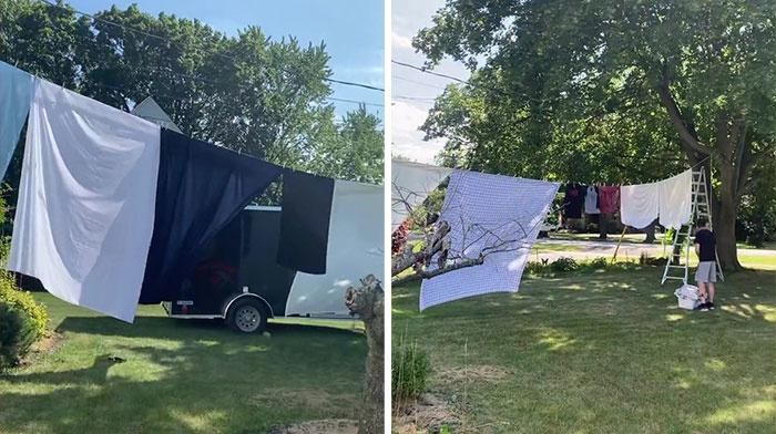 Couple puts up clothesline to block the 5 security cameras their neighbor has pointed at their home