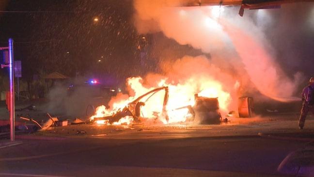 Tesla crashes into gas station, bursts into flames