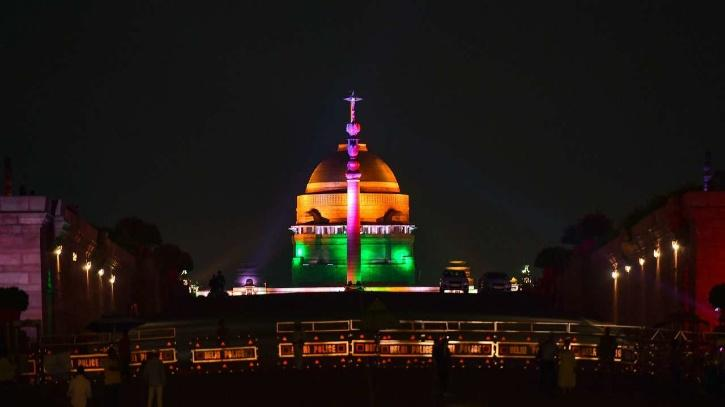Rashtrapati Bhavan illuminated with tricolor on Independence Day