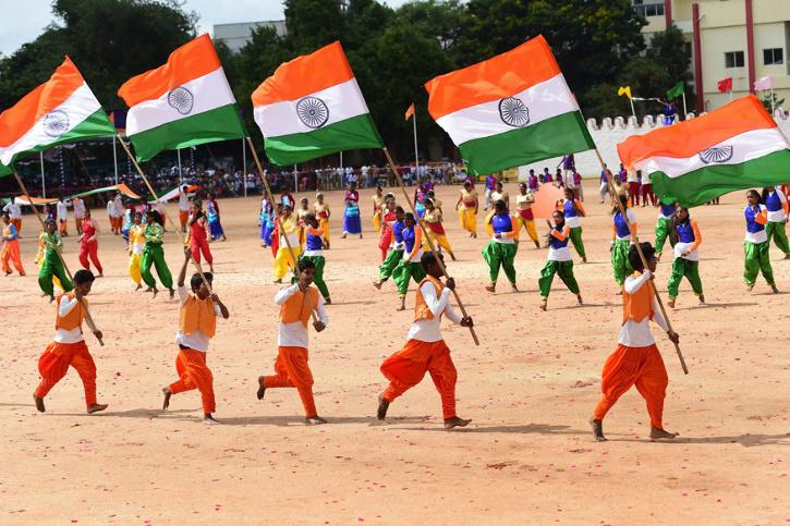 Students perform during the celebration of Independence day