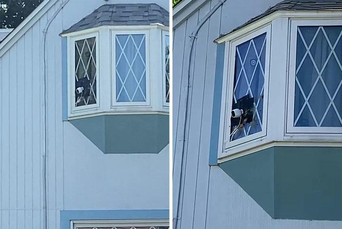 Couple Hang Laundry Line To Block Neighbor's View Of Their Home After She Installs 5 Cameras