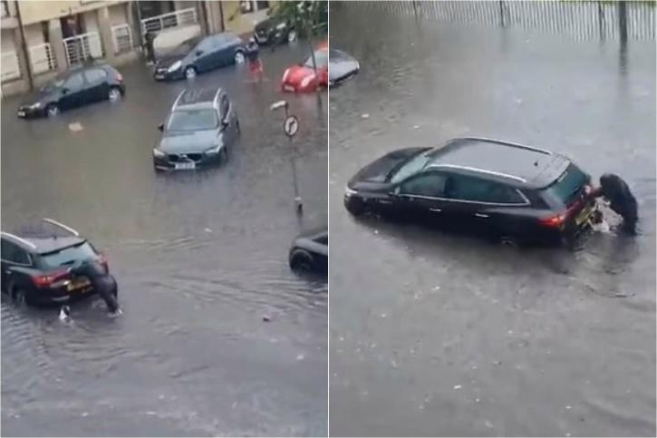 Dog helps woman push car out of flood water in Glasgow