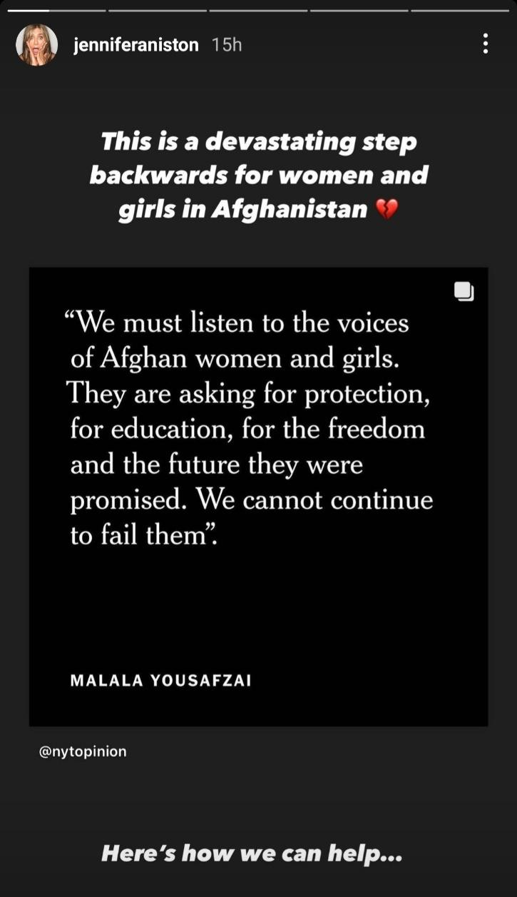 Jennifer Aniston is worried for women of Afghanistan.