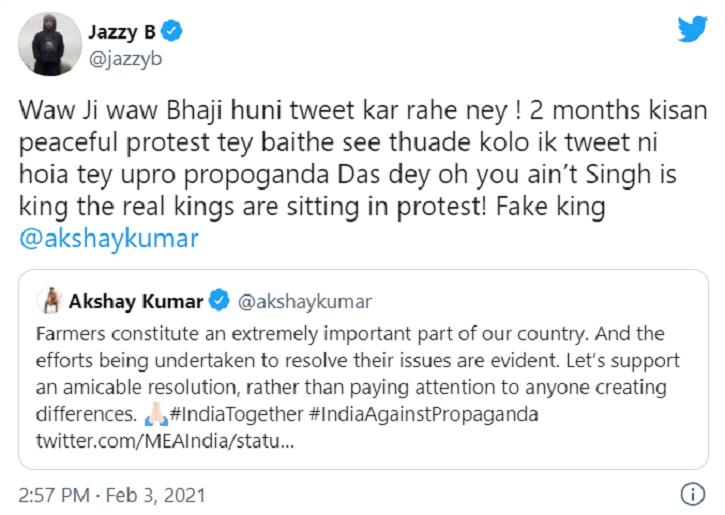 Jazzy B calls out Akshay Kumar.