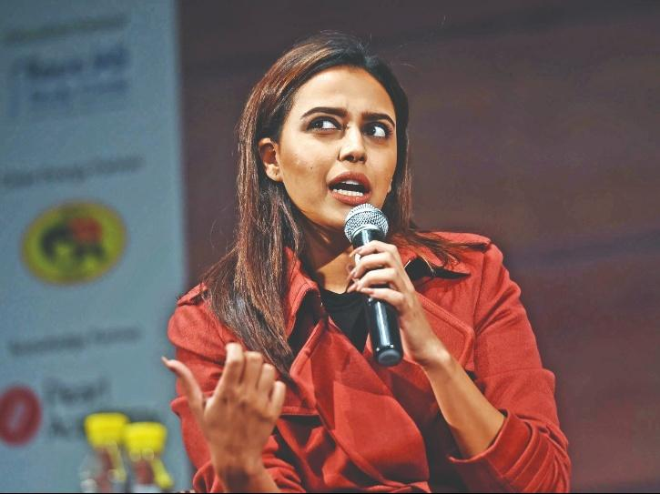 A still of Swara Bhasker from Time Lit Fest used on an article about her arrest on tweet comparing Afghanistan