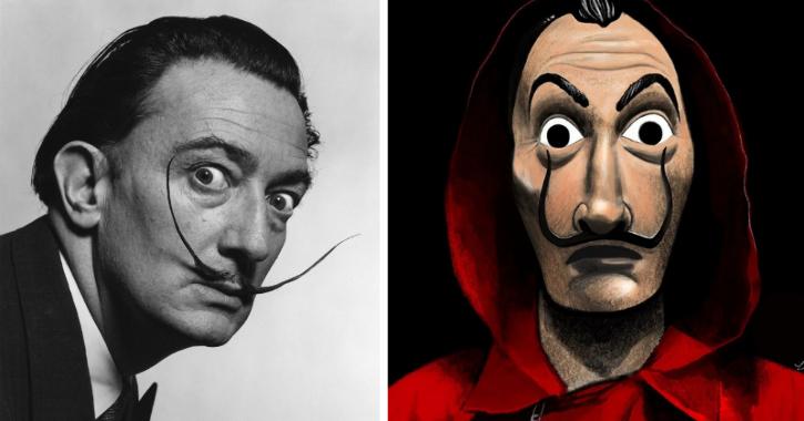 Money Heist masks are inspired by Salvador Dalí.