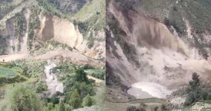 Landslide block flow of Chenab river.