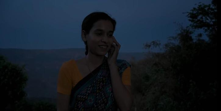 . When Ashwin calls Ratna when she goes to Village to attend the wedding in Sir