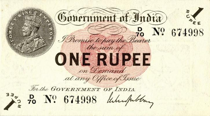 Portrait Notes of King George V - One Rupee
