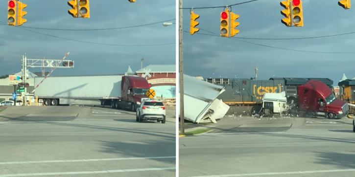 Freight train demolishes semi truck in its path