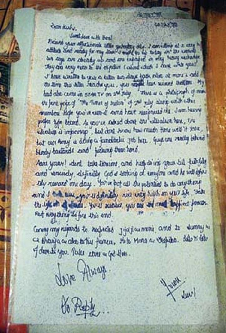 A photo of letter written by Captain Vikram Batra for his twin brother Vishal Batra.