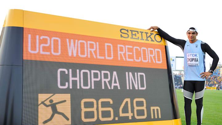 neeraj chopra javelin throw record