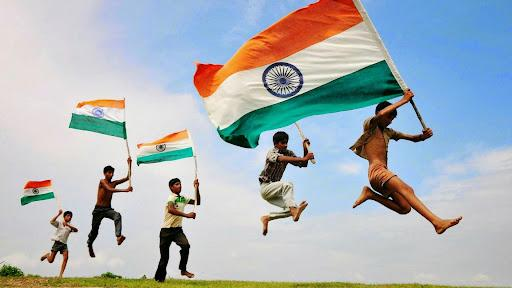 Kids with Indian flag