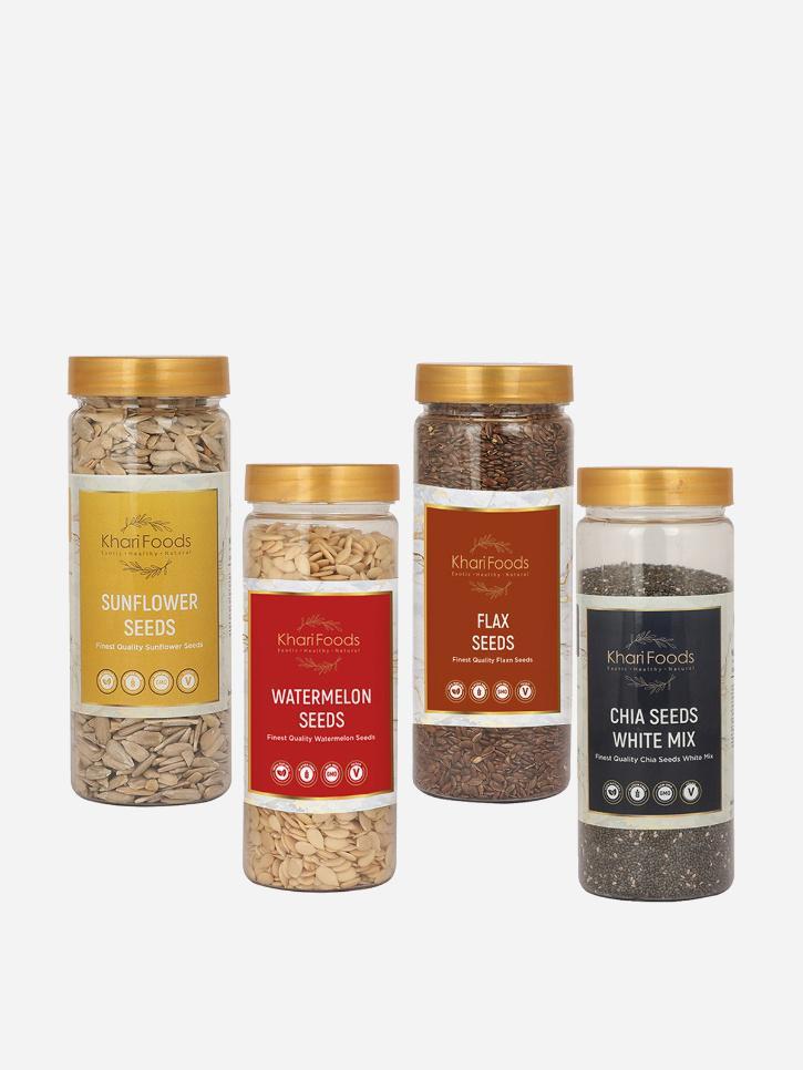 weight-loss-organic-sunflower-chia-flax-watermelon-seeds-combo-pack-of-4-Khaari Foods MensXP Shop