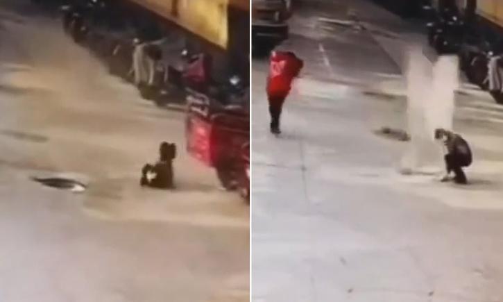Exploding manhole