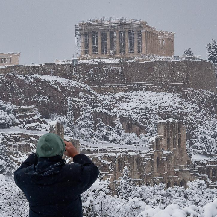 Athens, Greece is experiencing its heaviest snow in over 10 years