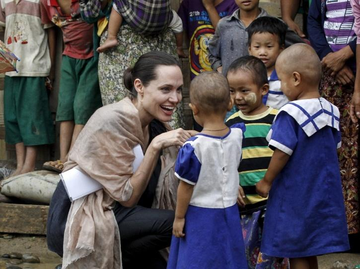 Angelina Jolie supporting human rights.