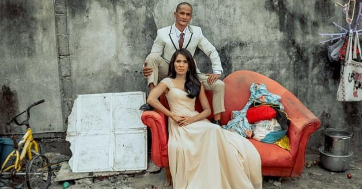 Rosalyn Ferrer, 50, and Rommel Basco, 55, (pictured) from Pampanga province, the Philippines, were surprised with a wedding photo shoot
