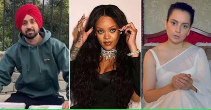 Diljit Dosanjh, Rihanna and Kangana Ranaut / Indiatimes