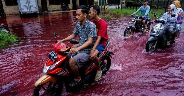 The red flood is due to the batik dye, which has been hit by the flood
