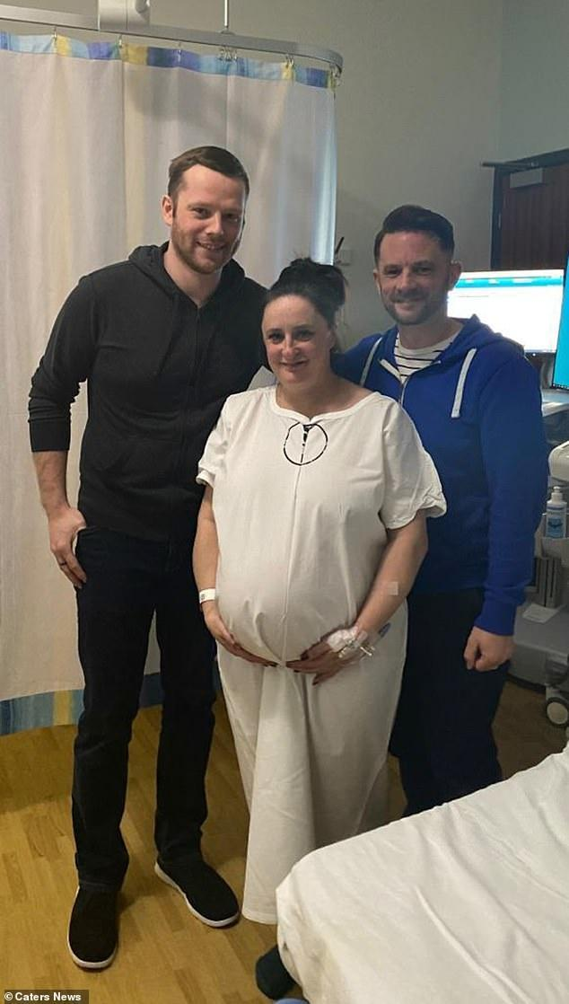Anthony Deegan and Ray Williams are pictured with Tracey in hospital before her Caesarean section