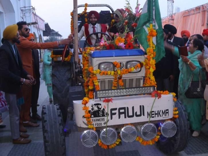 Tractor Wedding Farmers Protest