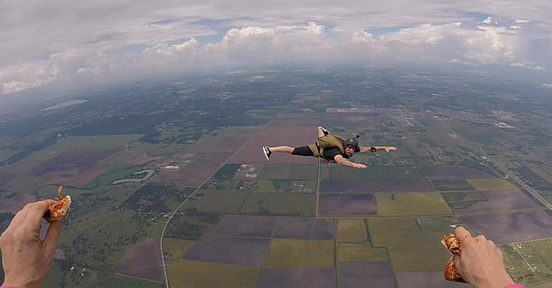 It seemed quite difficult to actually move while in the air, with the person filming just holding a pizza slice while falling