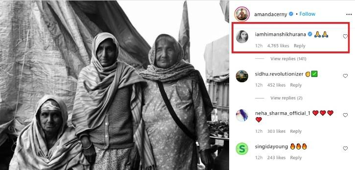 himanshi Khurrana lauds Amanda Cerny for supporting Indian farmers.