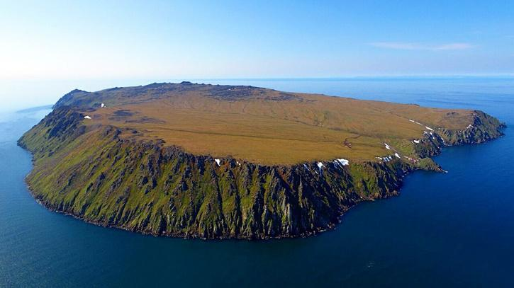 These are the Diomede Islands, they sit on the Date Line.