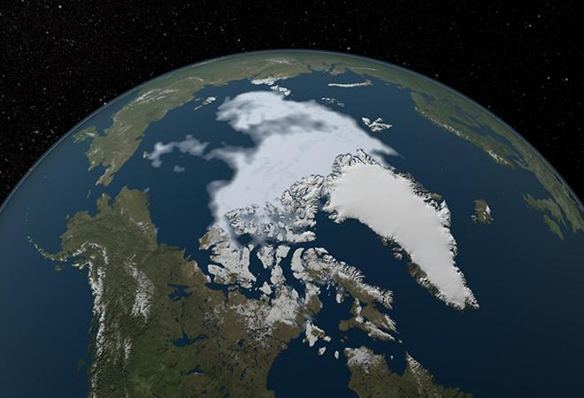 Summer sea ice in the Arctic (1984 - 2012)