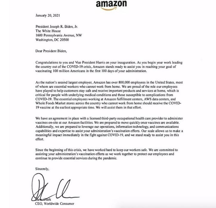Amazon Offers Help To Newly-Elect US President Joe Biden For COVID-19 Vaccine Distribution