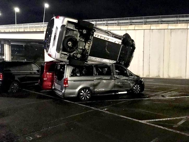 Mercedes destroyed by man