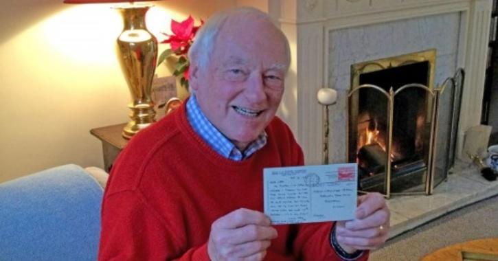 A retired salesman has declared himself 'elated' after a long-lost postcard from 1955