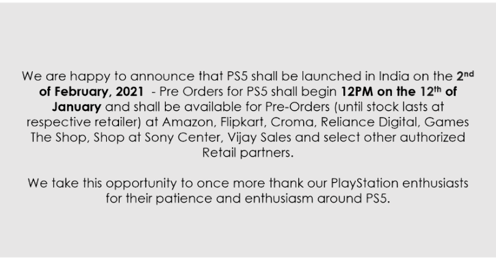 Sony PlayStation 5 India Launch Date Set To February 2, Pre-Orders Begin On January 12