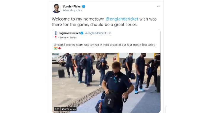 Sundar Pichai Tweet England Chennai India Test